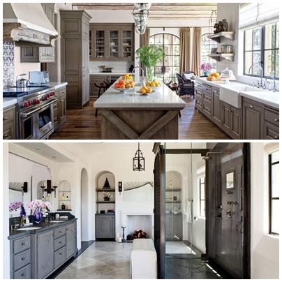 A cozinha e um dos banheiros da mansão